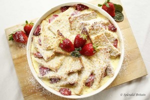 Bread and Butter Pudding with Strawberries – delicious!